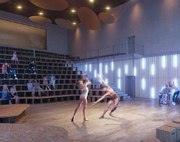 dettaglio rendering progetto teatro Leone Castelleone CR Officine Sonore